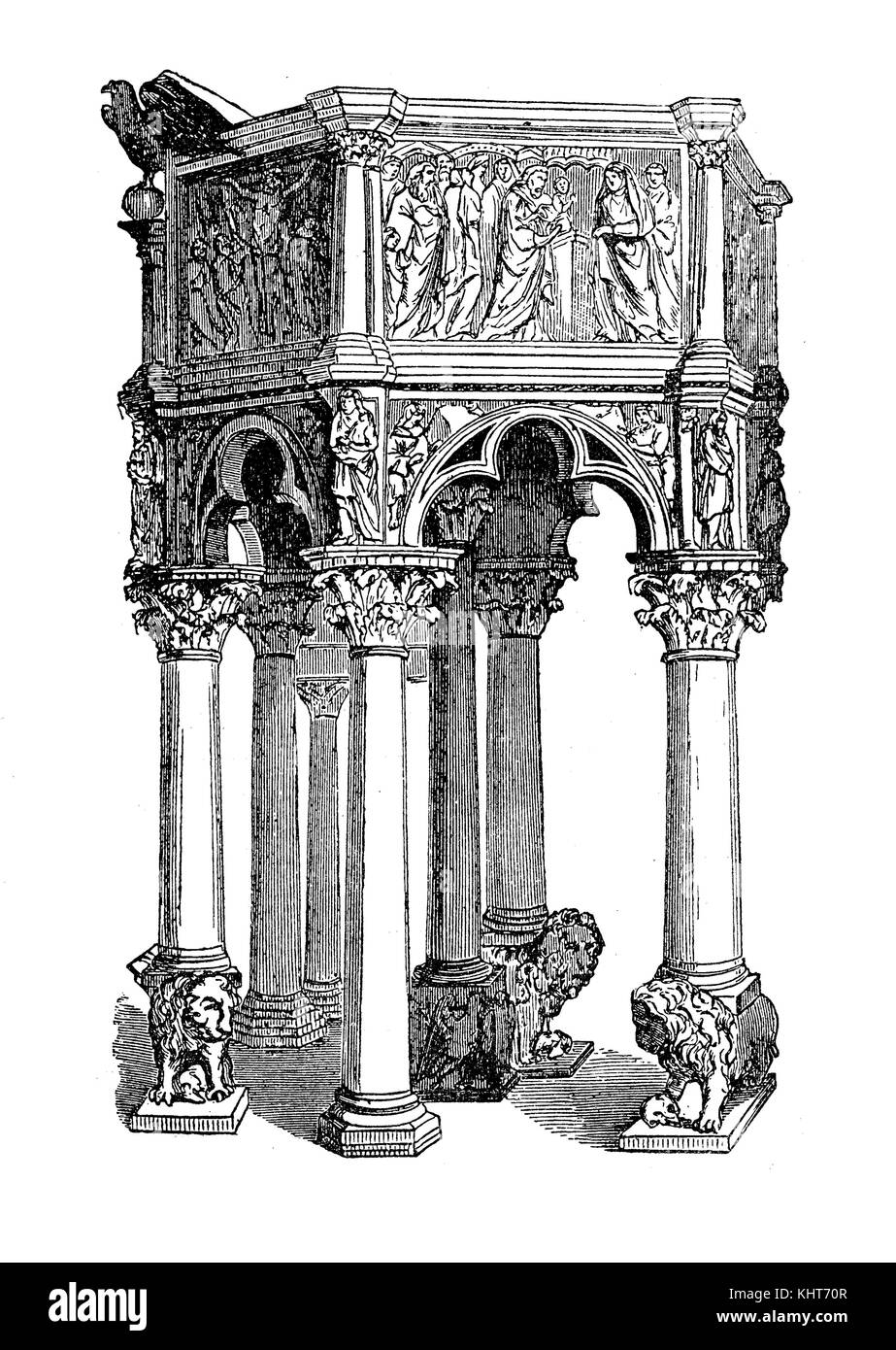 Decorated and carved pulpit in Pisa baptistery built in XI century in Pisan Romanesque architecture , vintage illustration - Stock Image