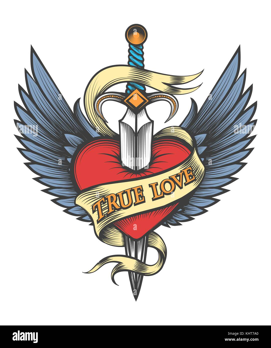 Heart with wings pierced by dagger and ribbon with lettering True Love drawn in tattoo style. Vector illustartion - Stock Vector
