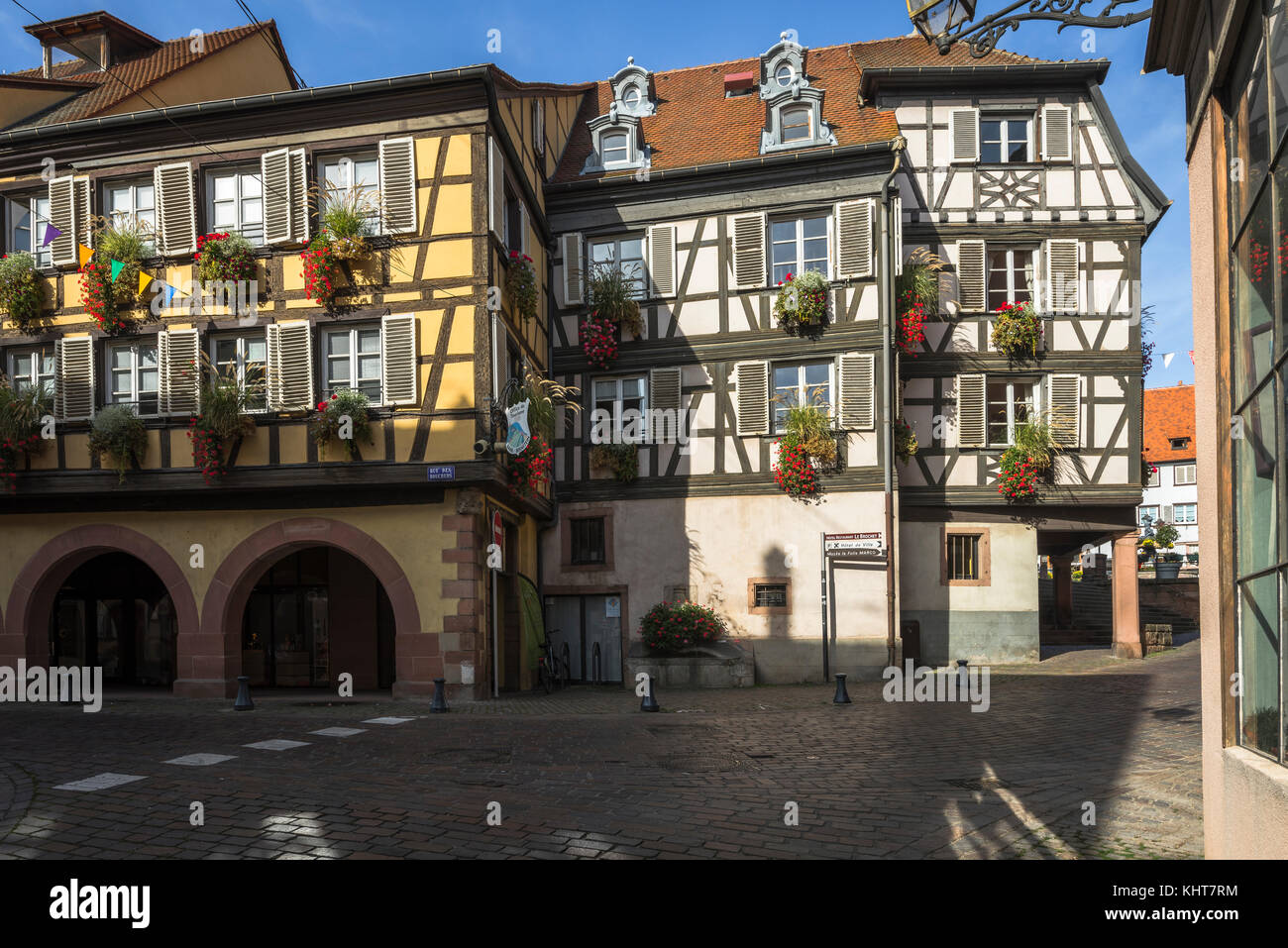 old skew-whiff half-timbered houses in the village Barr, on the Wine Route of Alsace, France - Stock Image