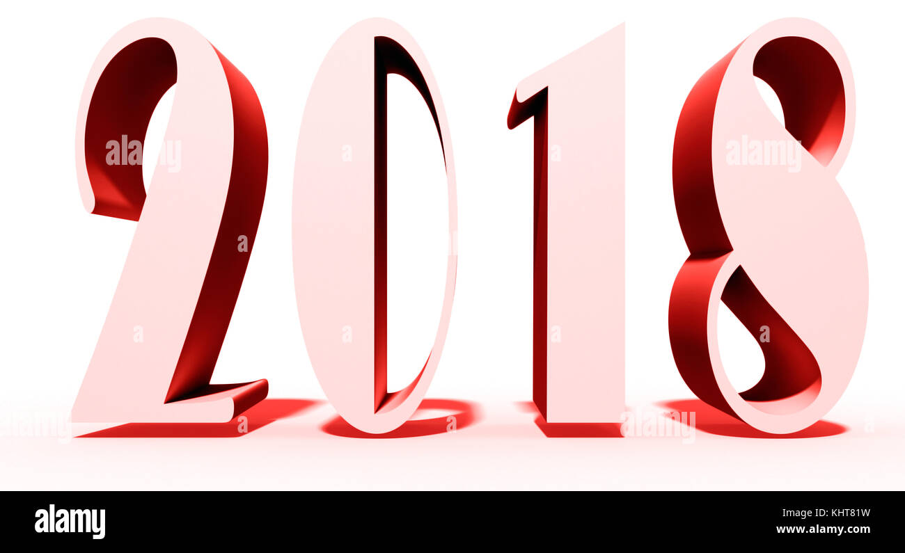new year theme on white ground and 2018 text