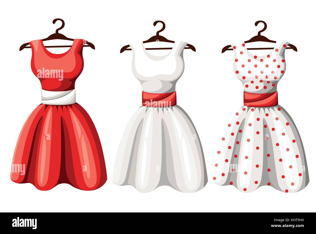 Set of retro pinup cute woman dresses. Short and long elegant black, red and white color polka dot design lady dress - Stock Vector