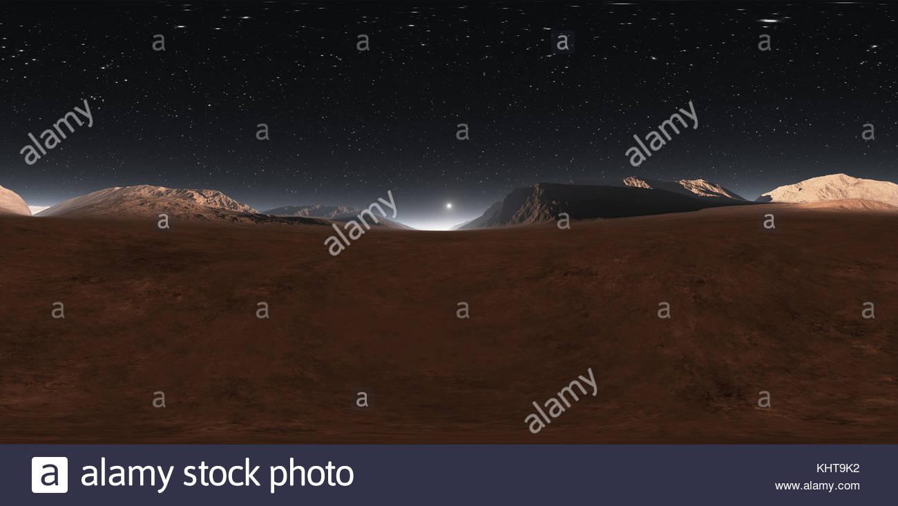 Panorama of Mars sunset, environment HDRI map. Equirectangular projection, spherical panorama. Martian landscape, Stock Photo