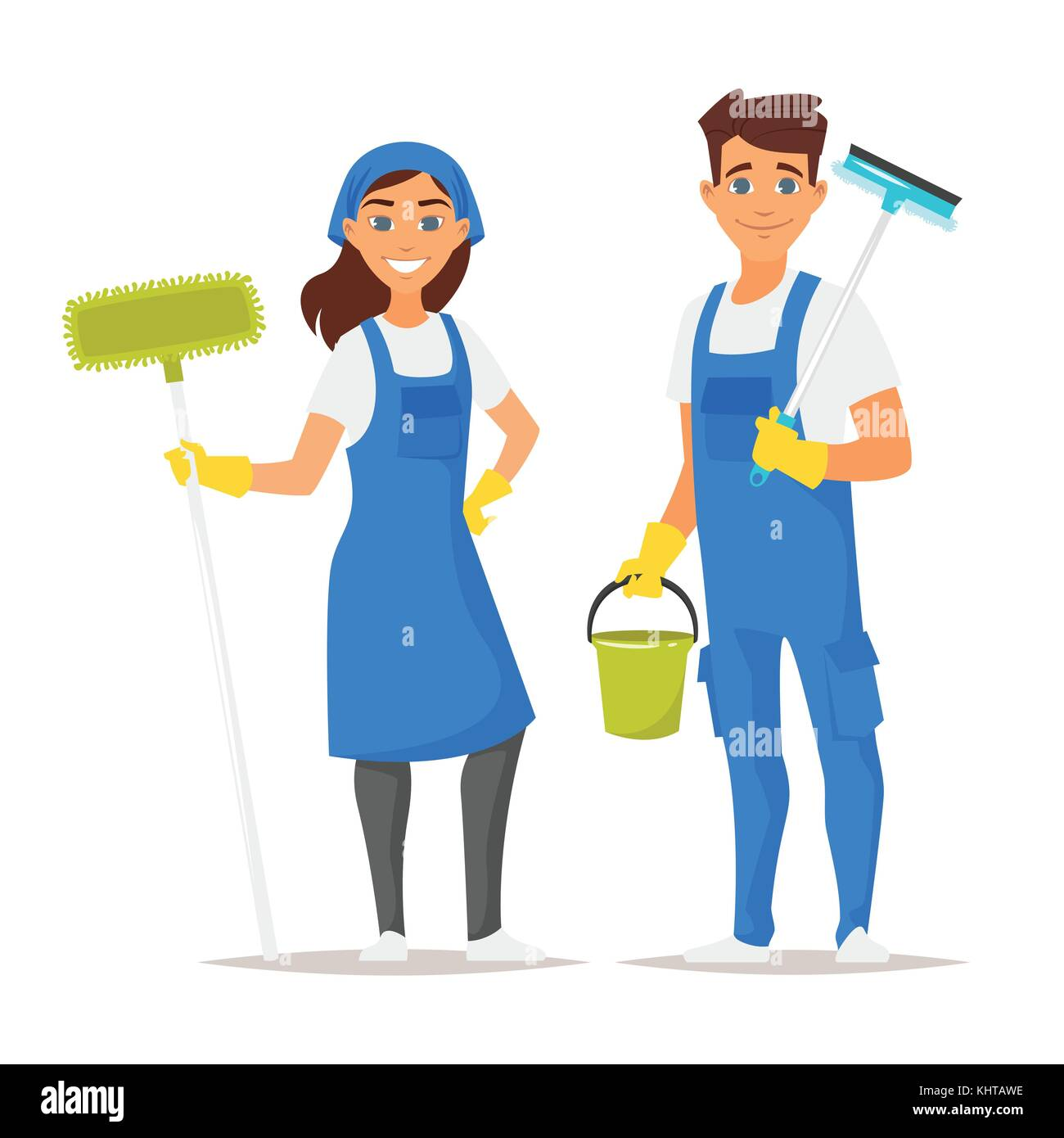 People Cleaning Kitchen: Vector Cartoon Style Illustration Of Cleaning Service Man