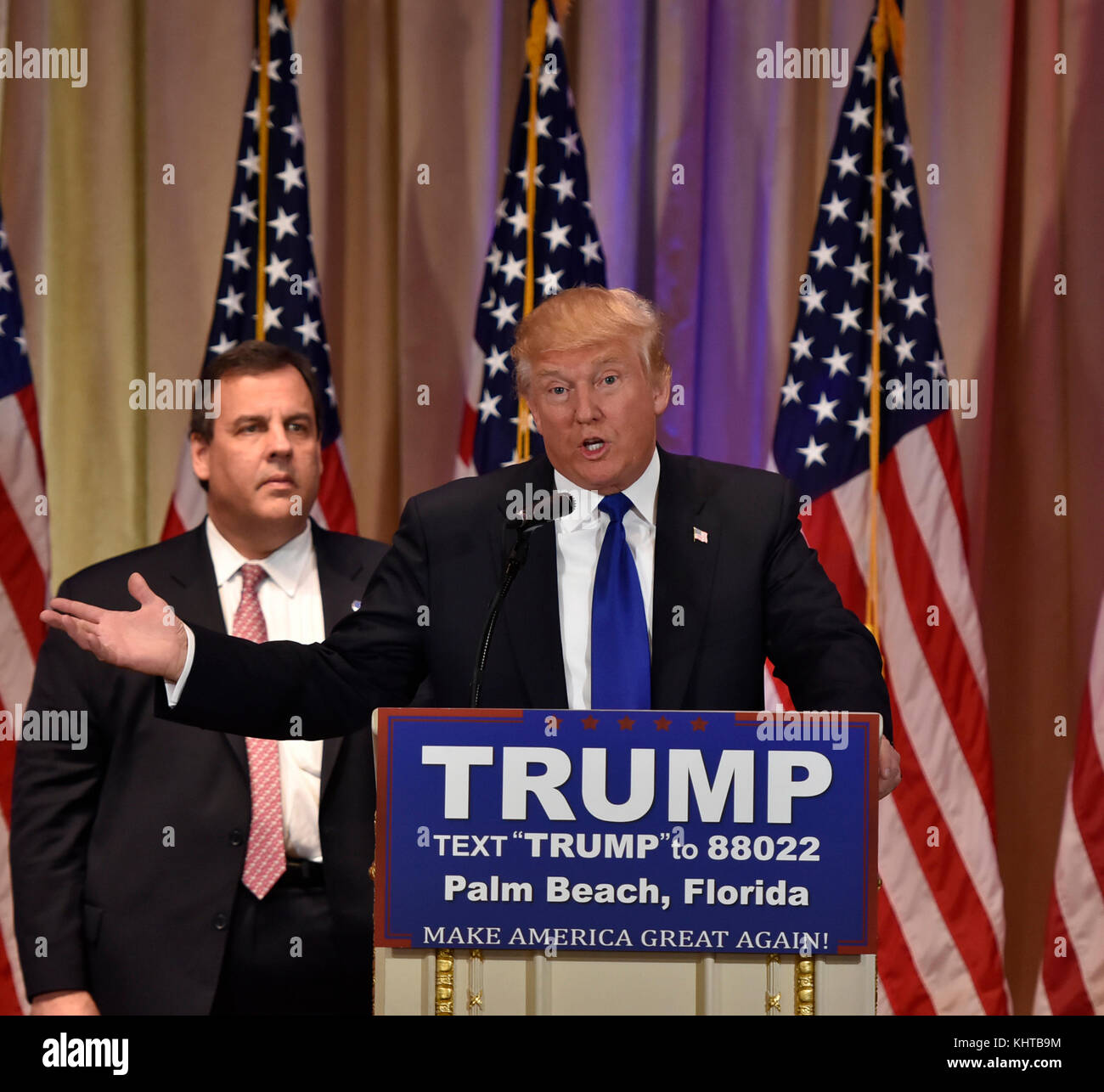 PALM BEACH, FL - MARCH 01: Republican Presidential frontrunner Donald Trump speaks to the media at his Mar-A-Lago - Stock Image