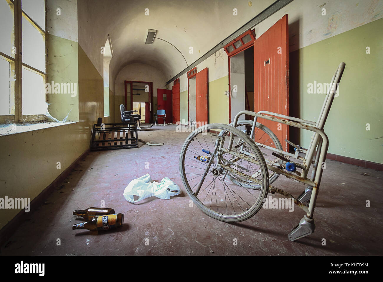 Interior of the abandoned psychiatric hospital in Colorno, Italy. - Stock Image