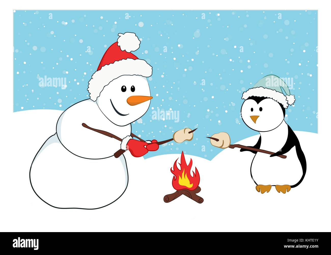 A Snowman And Penguin Roasting Marshmallows Cartoon Characters With Snow Background