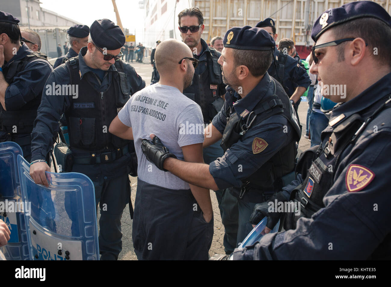 The 'NO G7' protest group at the port of Naples, ready to embark for Ischia, where the G7 Meeting of Interior Ministers - Stock Image