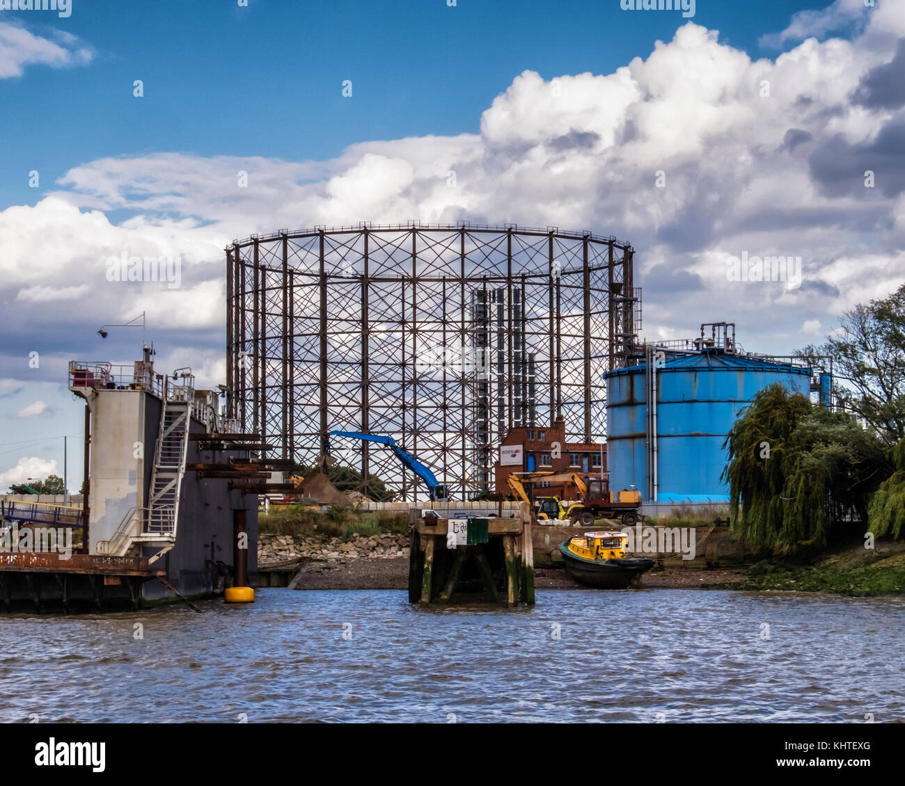 London,Greenwich. Gasometer and gas holder, old listed structure is a target for developers who wish to replace - Stock Image