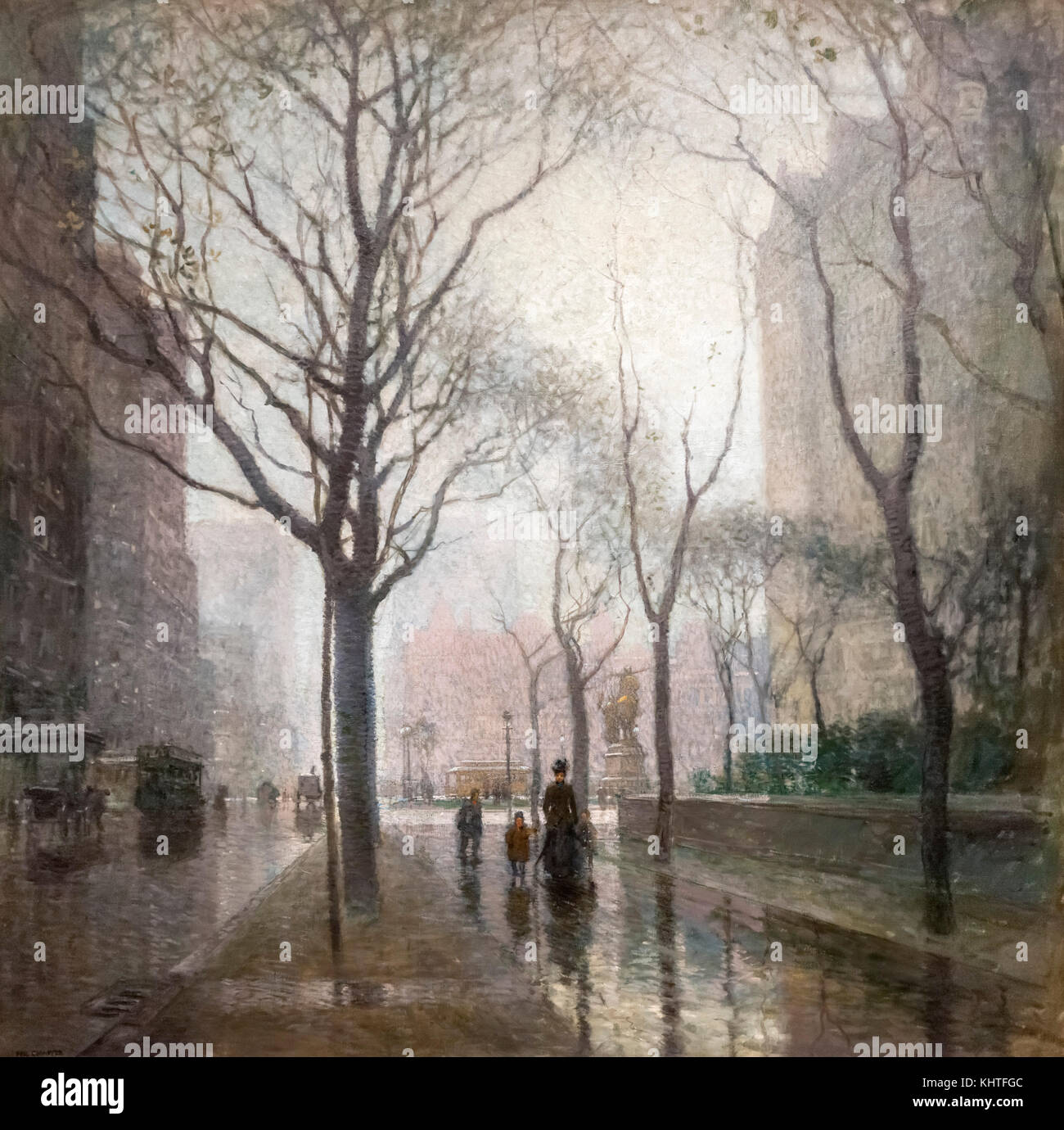 The Plaza after the Rain by Paul Cornoyer (1864-1923), oil on canvas, 1908 - Stock Image