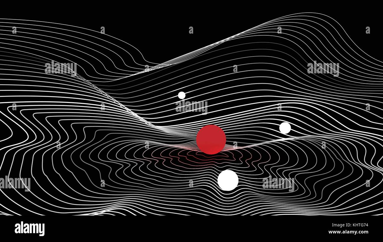Topographical Map with Spheres - Vector Illustration - Stock Image