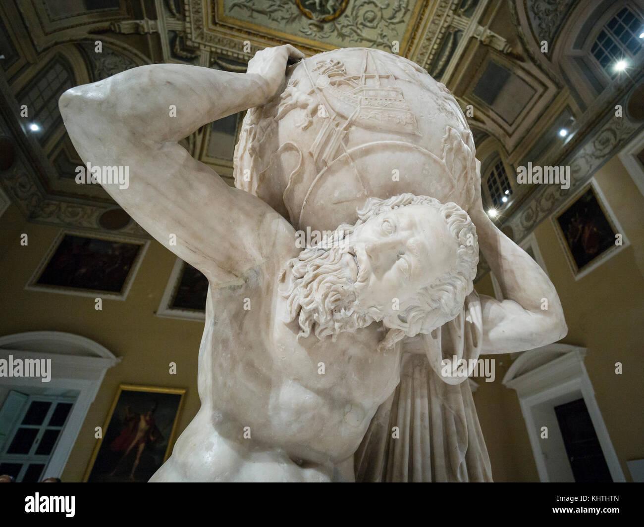 Naples. Italy. Atlas Farnese sculpture, 2nd century A.D. Museo Archeologico Nazionale di Napoli. Naples National Stock Photo