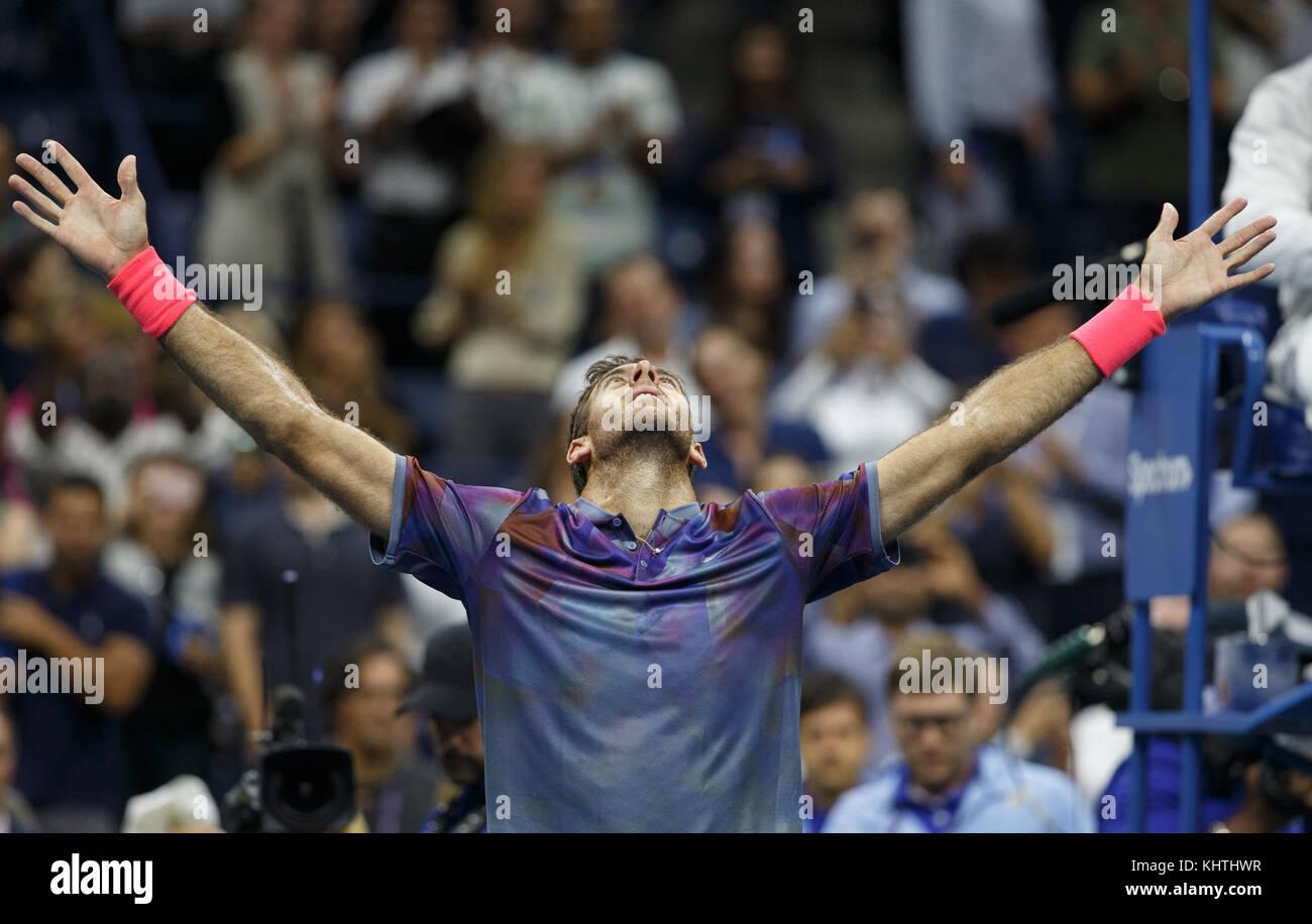 Argentinian tennis player JUAN MARTIN DEL POTRO (ARG) celebrates at US Open 2017 Tennis Championship, New York City, Stock Photo