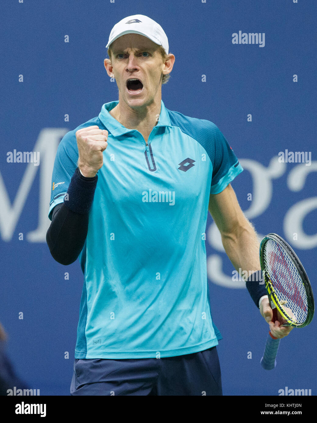 South African  tennis player KEVIN ANDERSON (RSA)makes a fist and celebrates at US Open 2017 Tennis Championship, - Stock Image