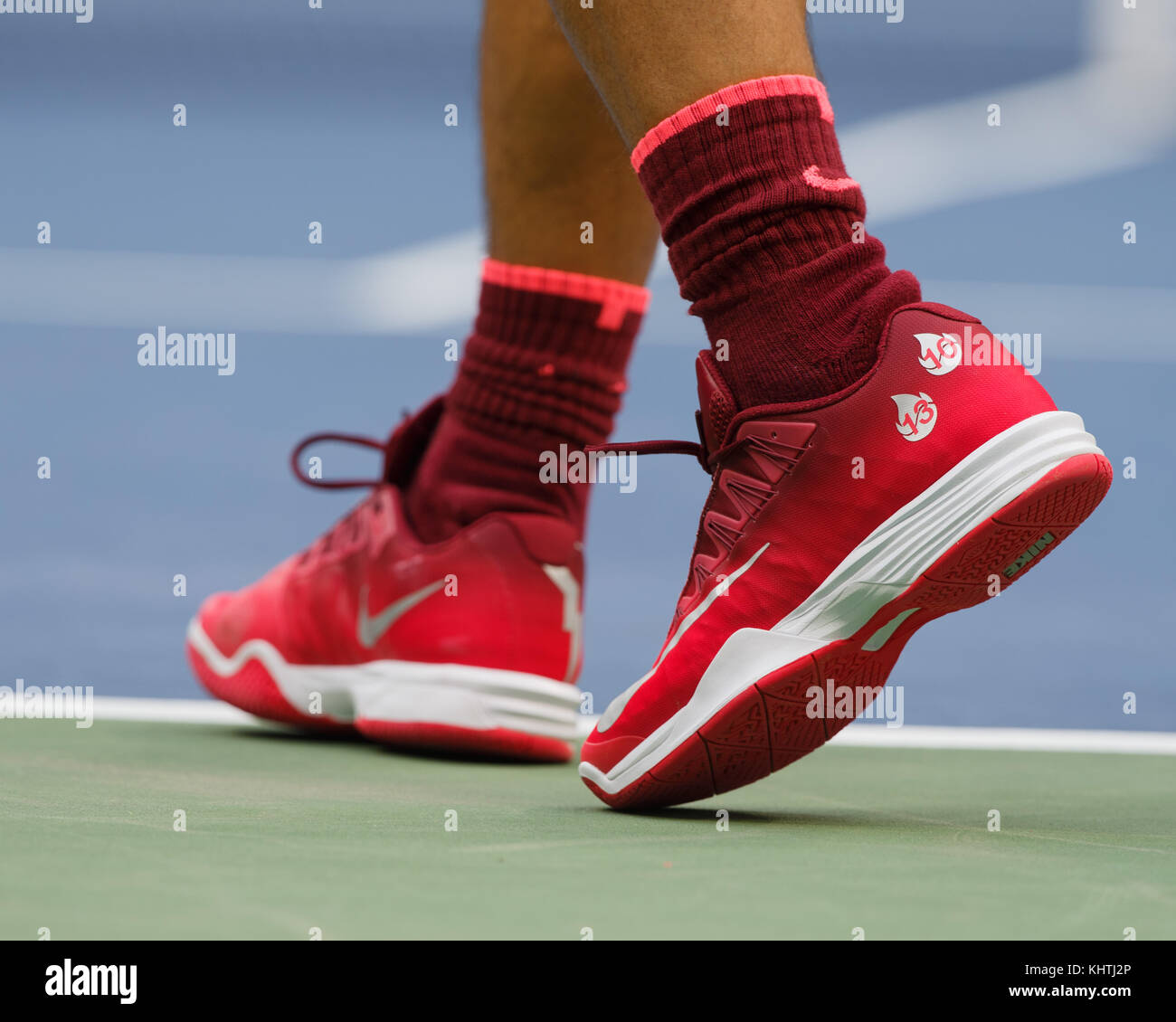 Close up shot of Spanish tennis player Rafael Nadal sports shoe during his men's singles match in US Open 2017 - Stock Image