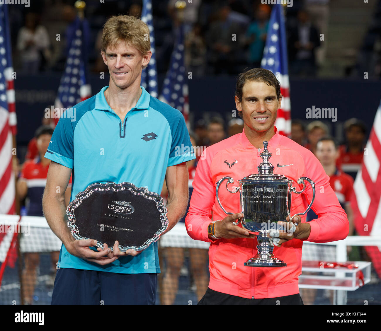 Spanish tennis player Rafael Nadal and runner up Kevin Anderson holding their  US Open 2017 trophies ,New York City, - Stock Image
