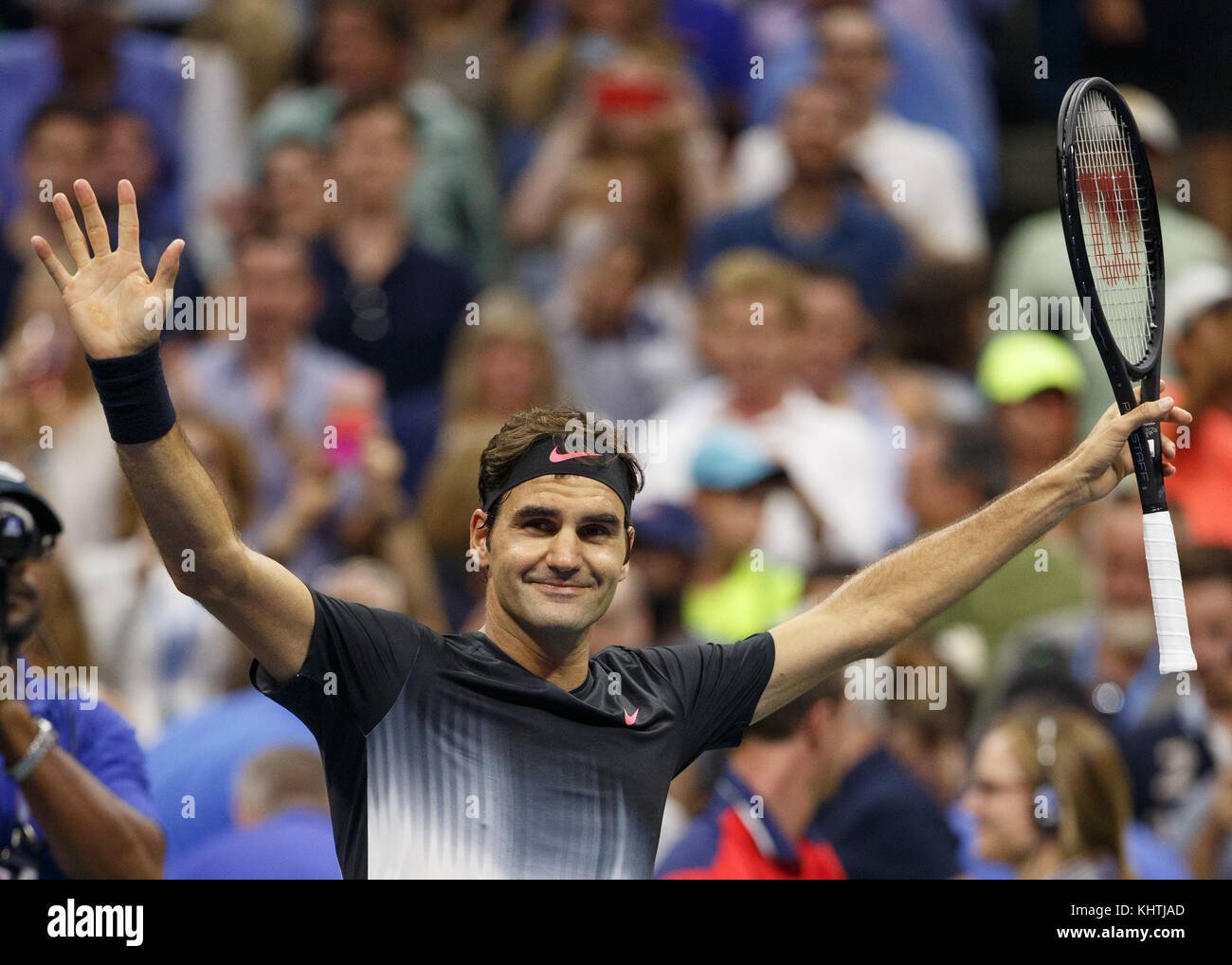 Swiss tennis player ROGER FEDERER (SUI) celebrates at US Open 2017 Tennis Championship, New York City, New York Stock Photo