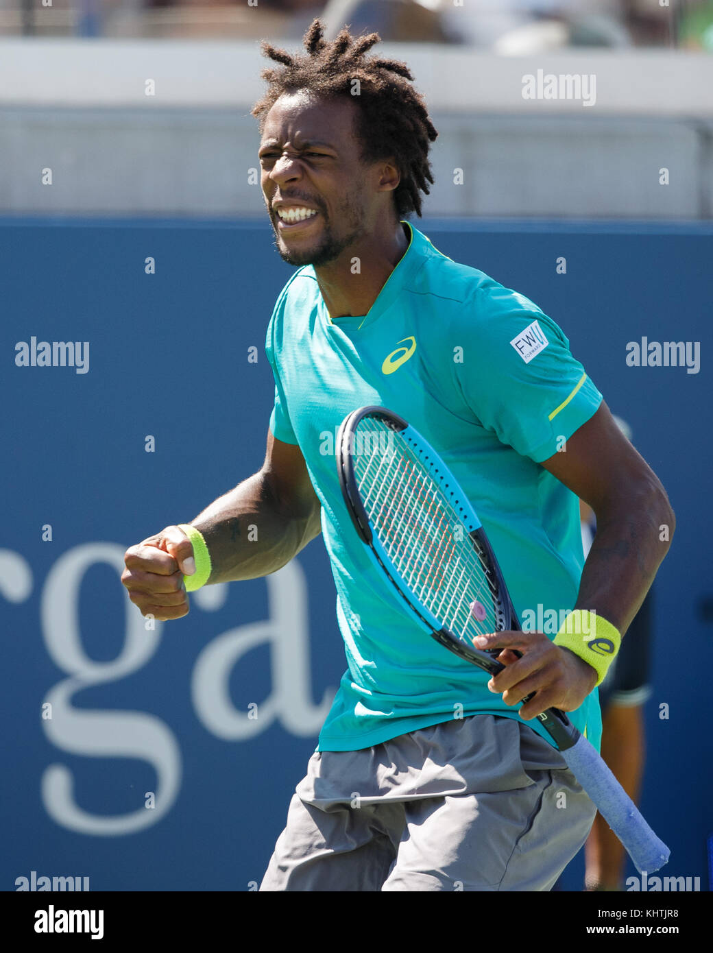 French tennis player GAEL MONFILS (FRA) celebrating during mens singles tennis match in US Open 2017 Tennis Championship, - Stock Image