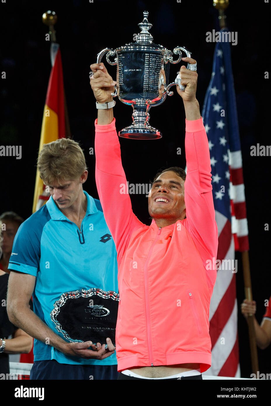 Spanish tennis player Rafael Nadal with the US Open 2017 Trophy after beating Kevin Anderson in the men's final, - Stock Image