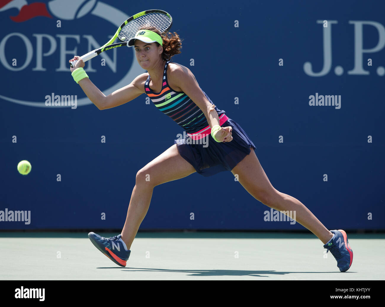 Romanian tennis player SORANA CIRSTEA (ROU) hitting a forehand shot during women's singles match in US Open - Stock Image