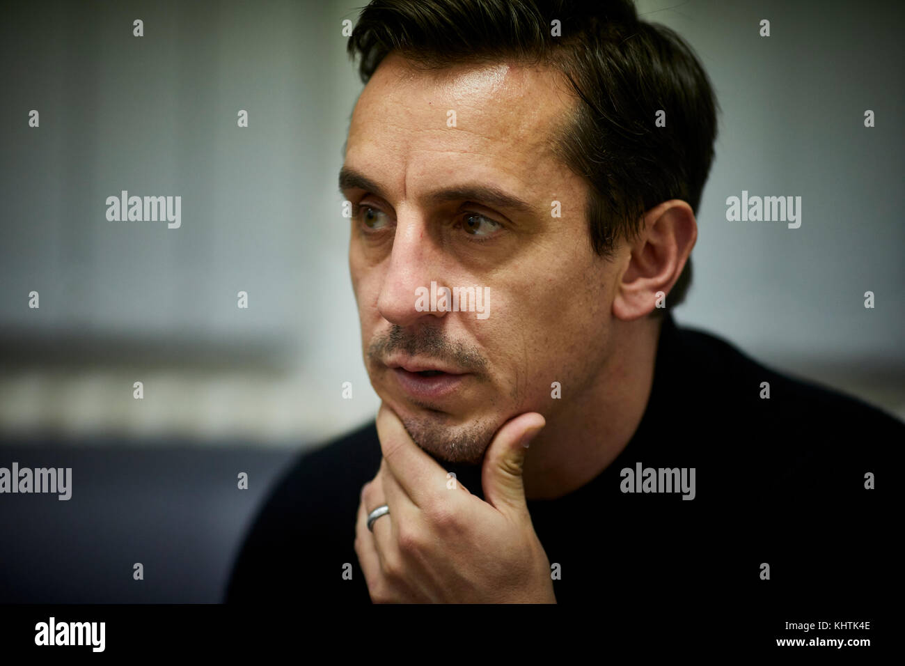 Gary Neville collaborates with Salford University are students to exhibit their work at his Hotel Football in Stretford, - Stock Image
