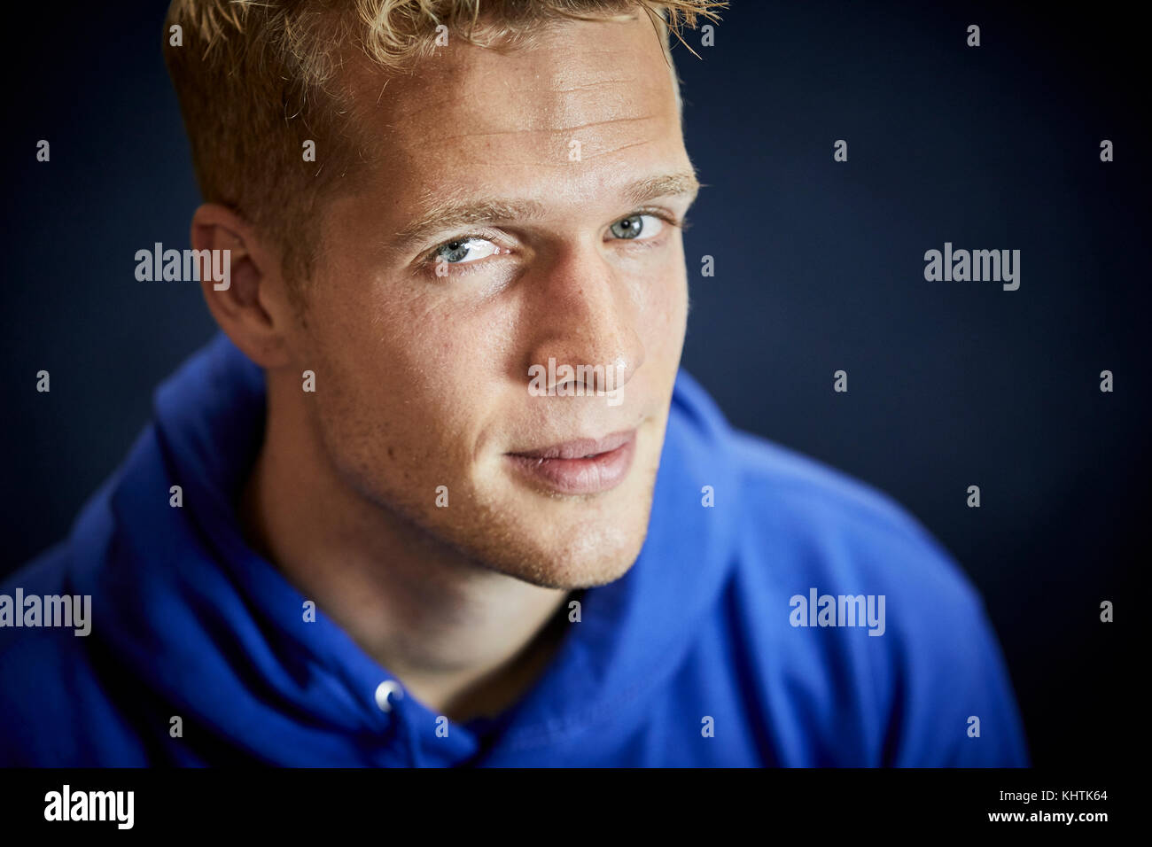 Portrait image of Jonas Lössl, a Danish Professional football player who plays as a goalkeeper for Premier - Stock Image