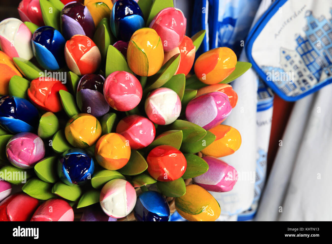 Wooden tulips for sale on the world famous floating flower market on the Singel canal, in Amsterdam in the Netherlands - Stock Image