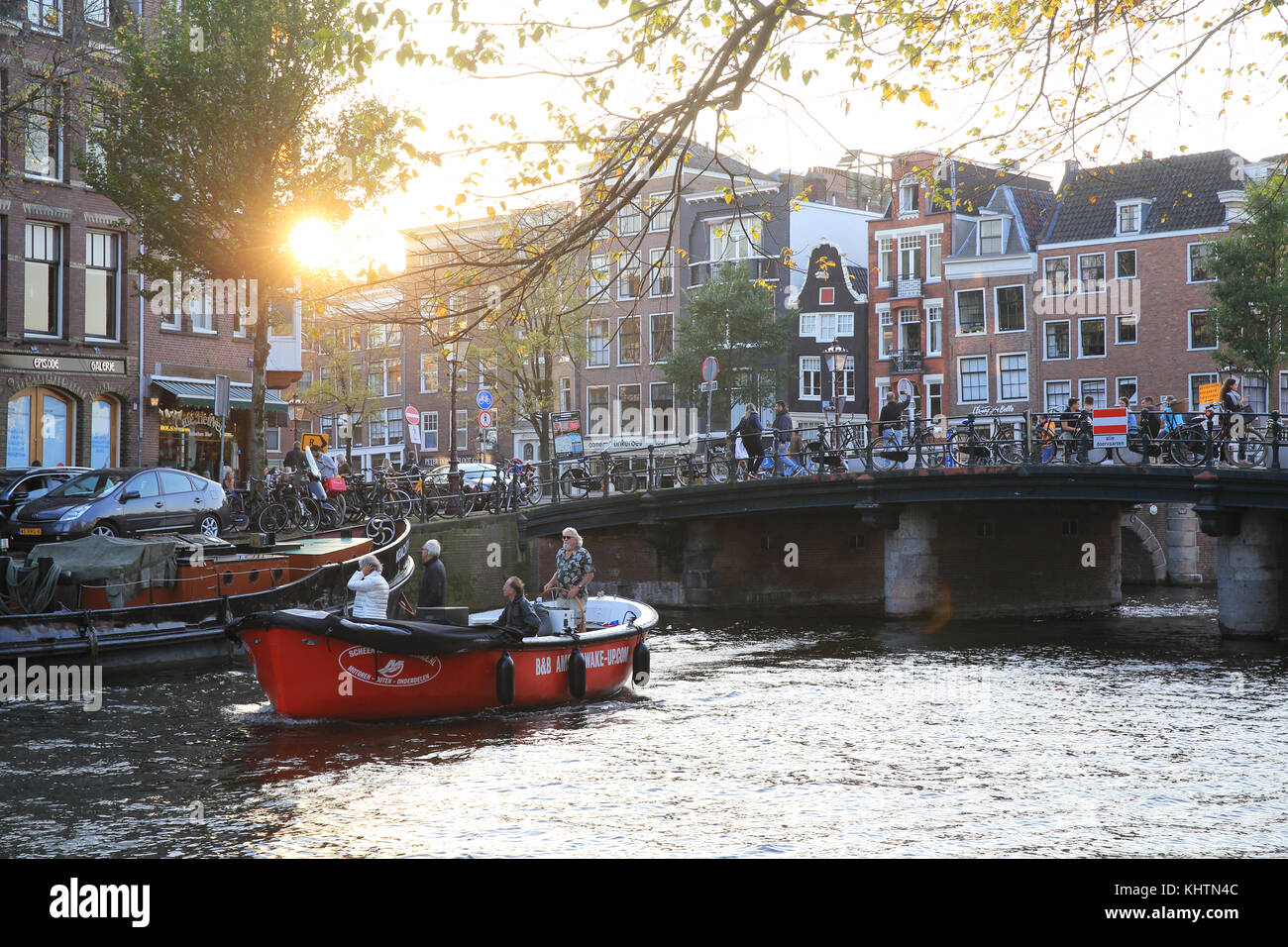 The Prinsengracht canal, in Autumn, in Amsterdam, the Netherlands - Stock Image