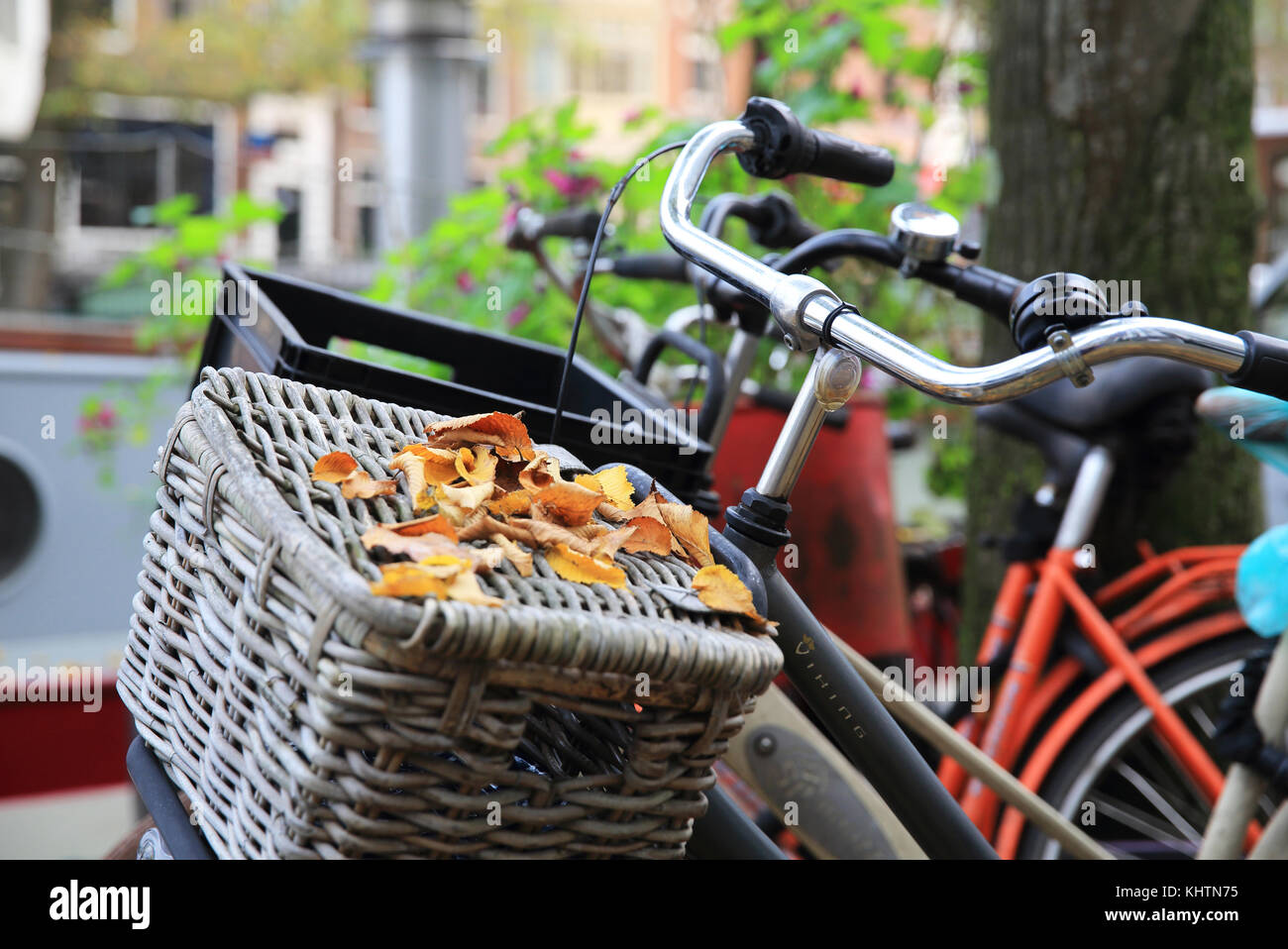 Bicycles by the Prinsengracht canal, in Autumn, in Amsterdam, the Netherlands - Stock Image