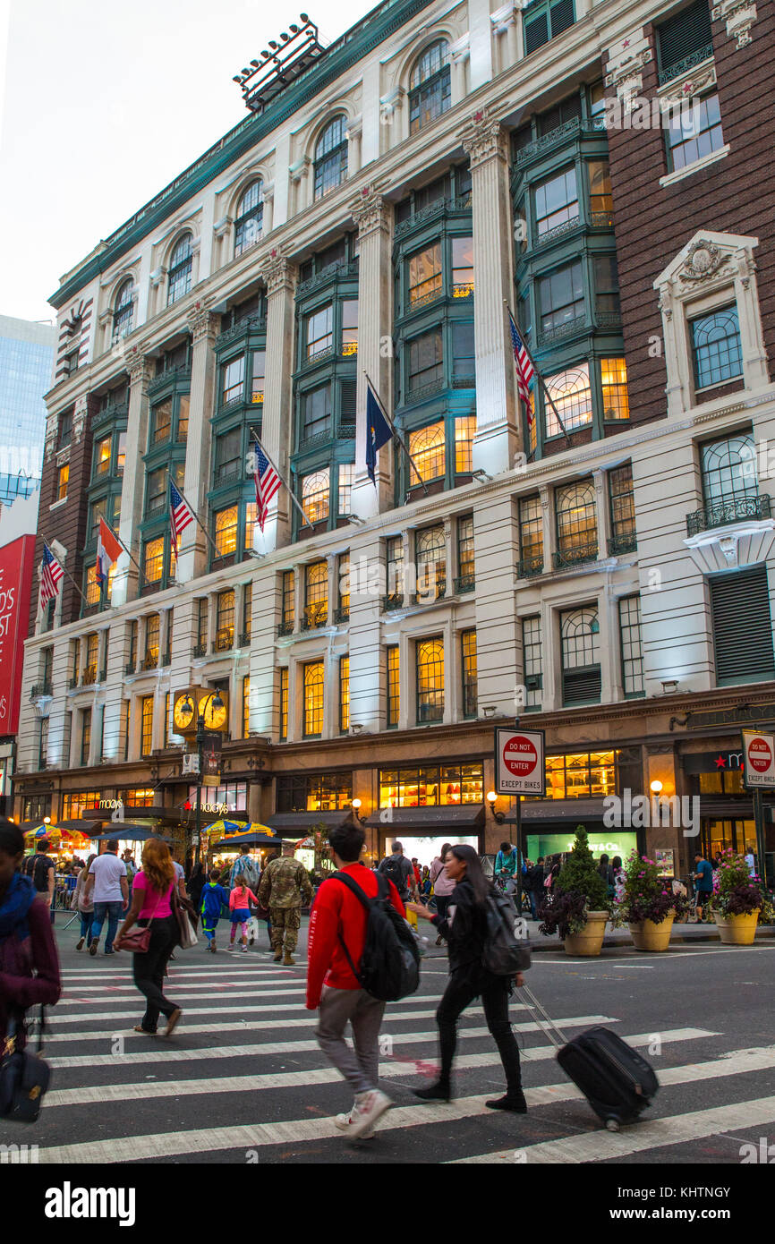 NEW YORK CITY - OCTOBER 21, 2017: View of Macy's Department Store in Herald Square, midtown Manhattan with people Stock Photo