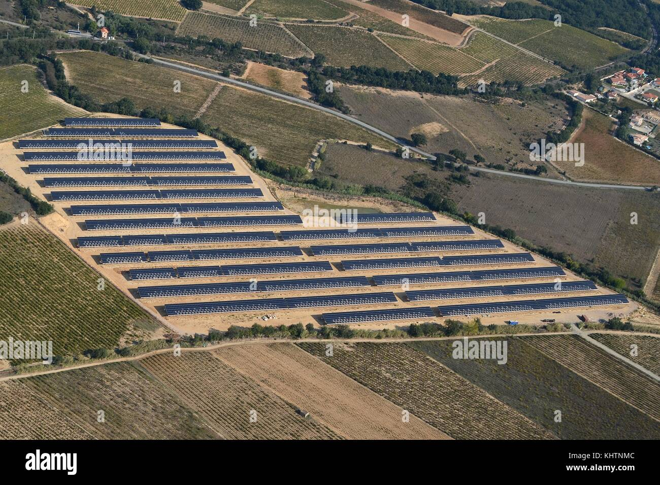 SOLAR PANELS IN THE SOUTH OF FRANCE - Stock Image