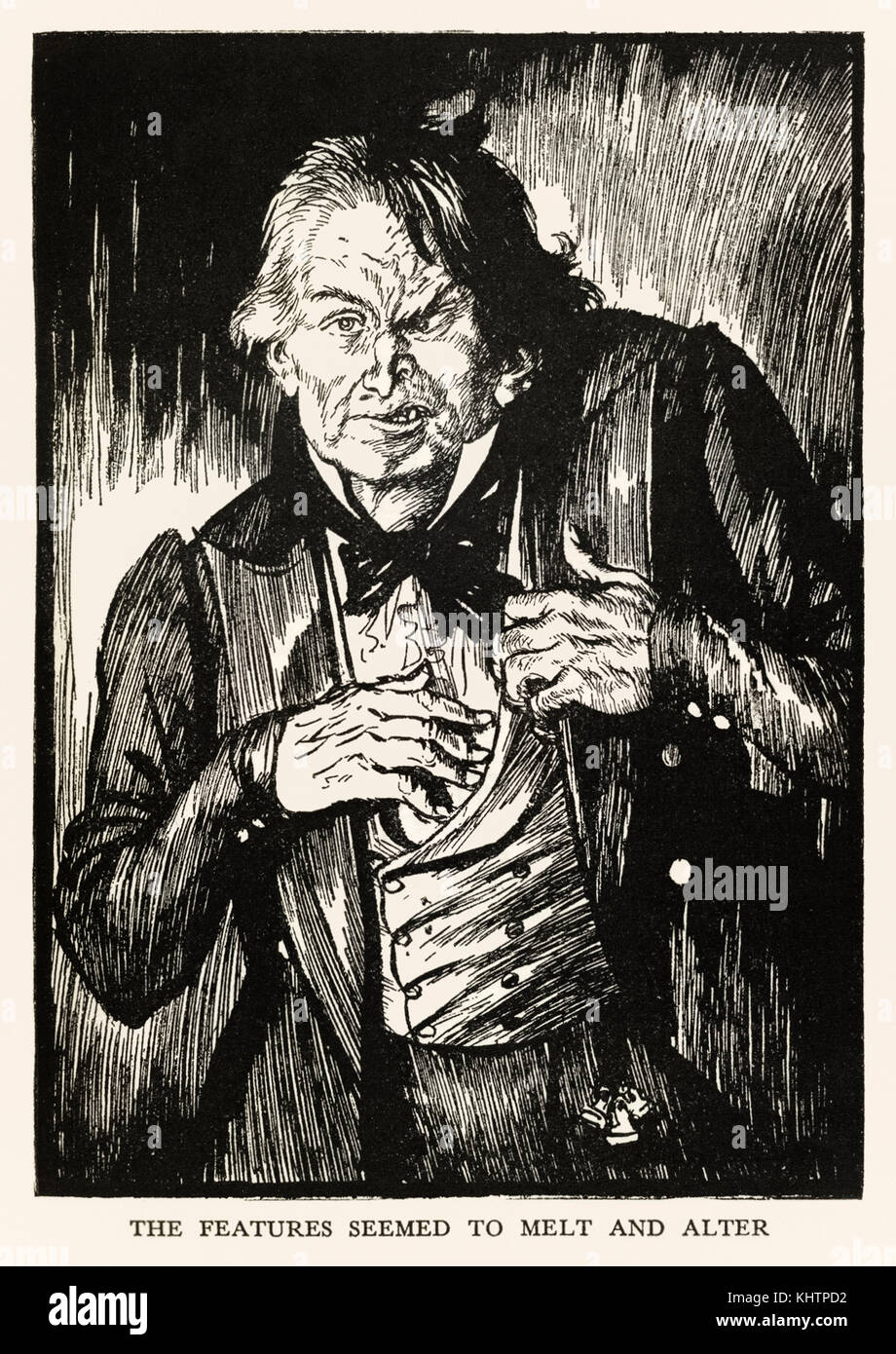 'The features seemed to melt and alter' from the 'Strange Case of Dr Jekyll and Mr Hyde' by Robert Louis Stevenson - Stock Image