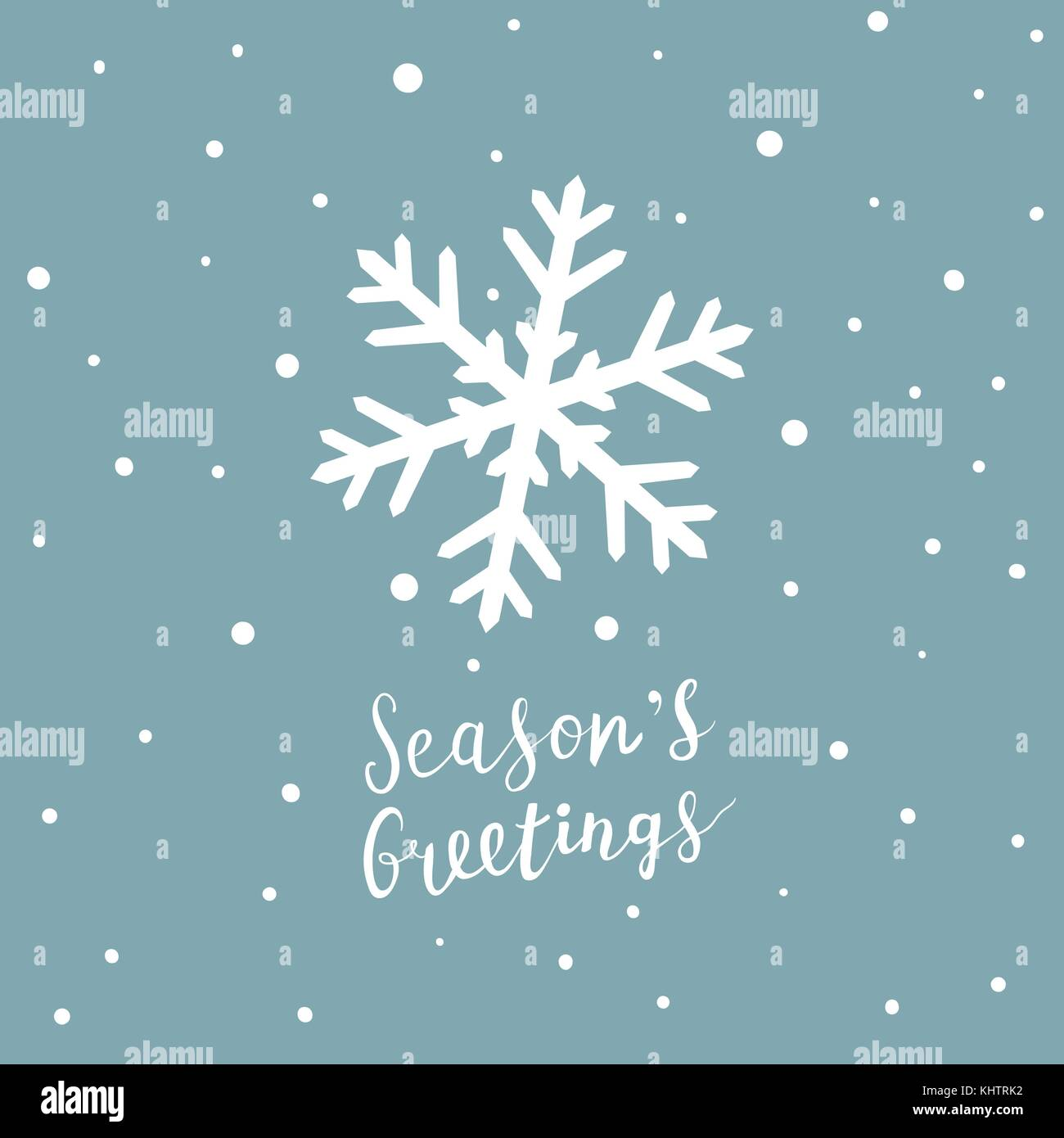 Christmas card with snowflake and hand written lettering, Christmas design elements - Stock Image