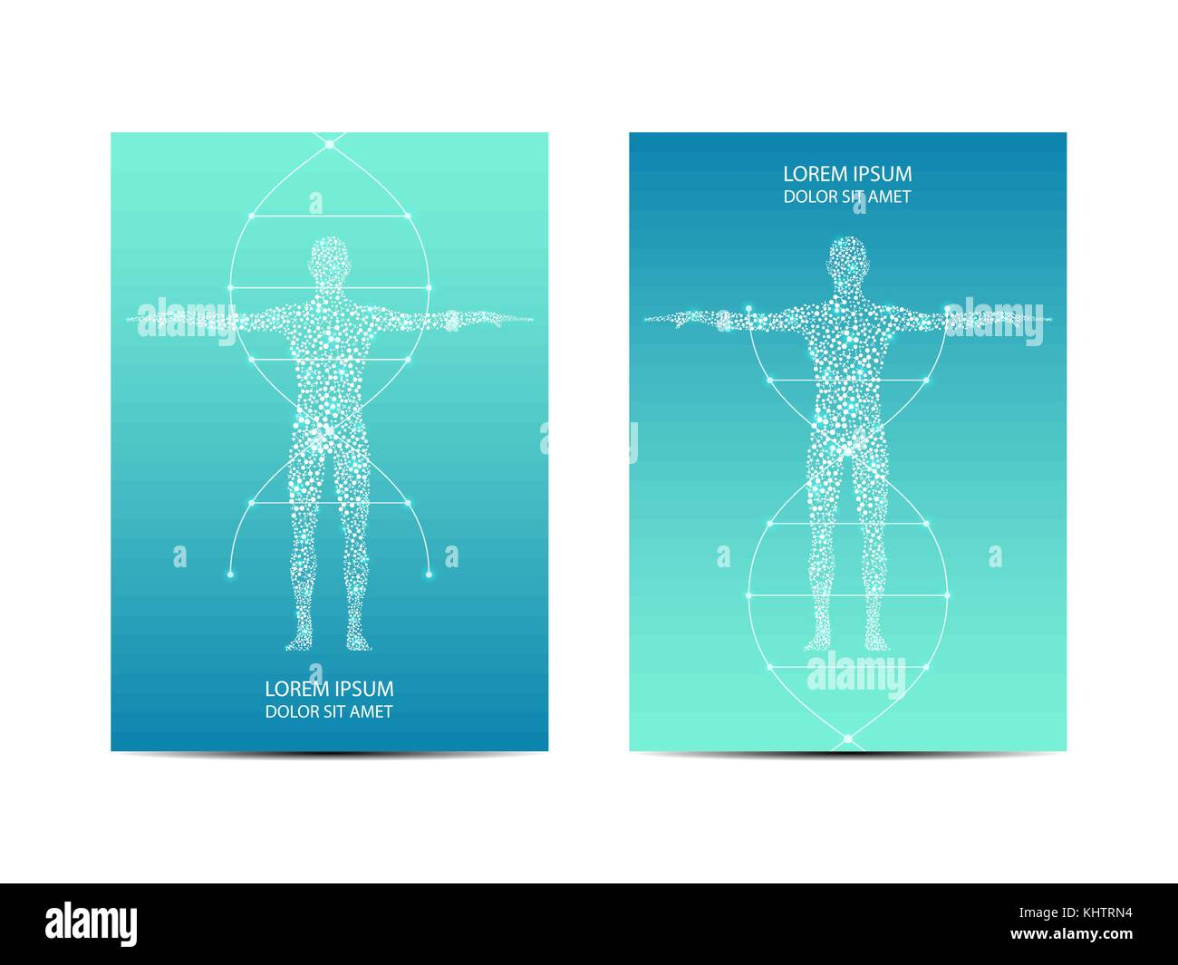 Cover or poster design with human body, scientific and technological concept, vector illustration. - Stock Image