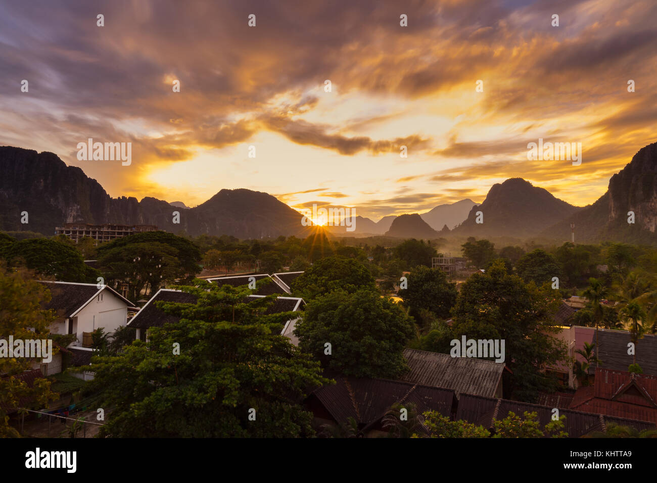 Viewpoint and beautiful sunset at Vang Vieng, Laos. - Stock Image