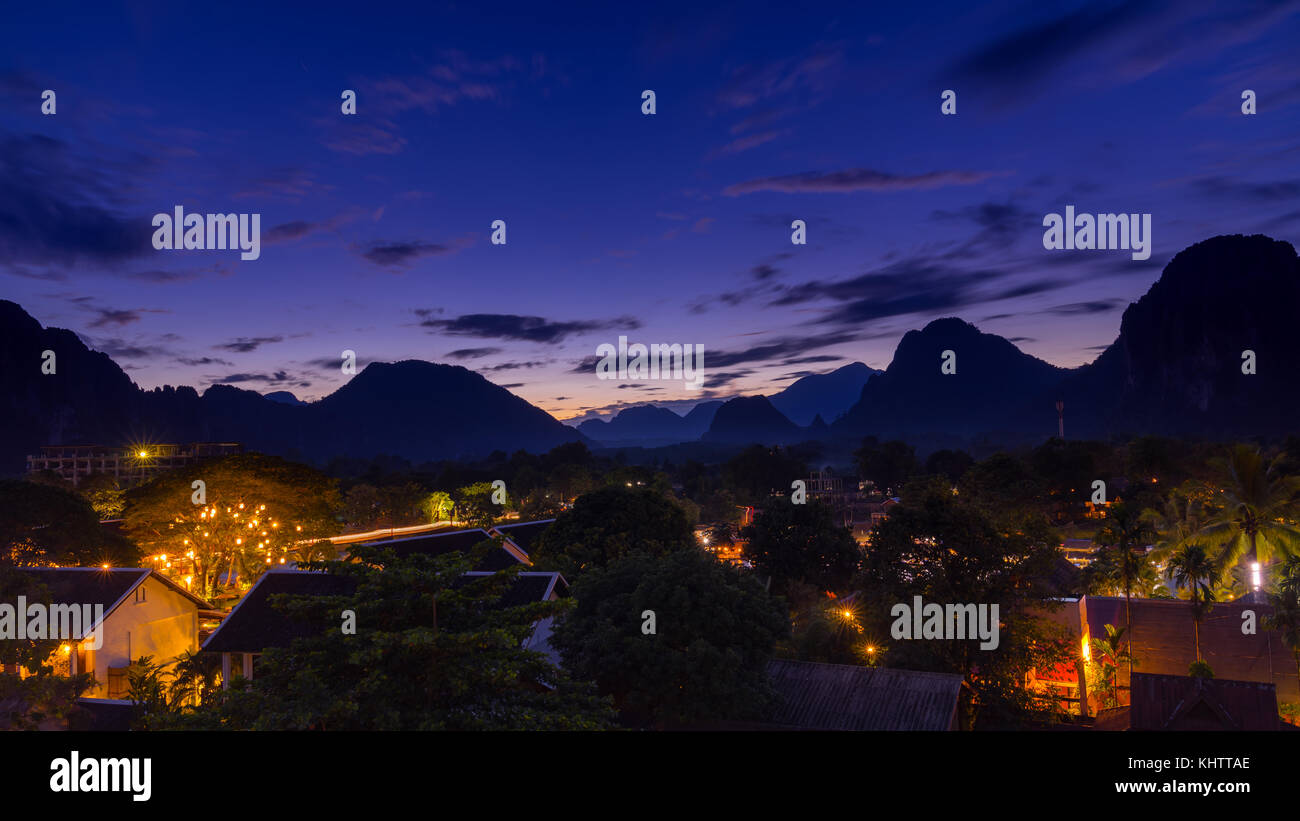 Viewpoint and beautiful night scenic at Vang Vieng, Laos. - Stock Image