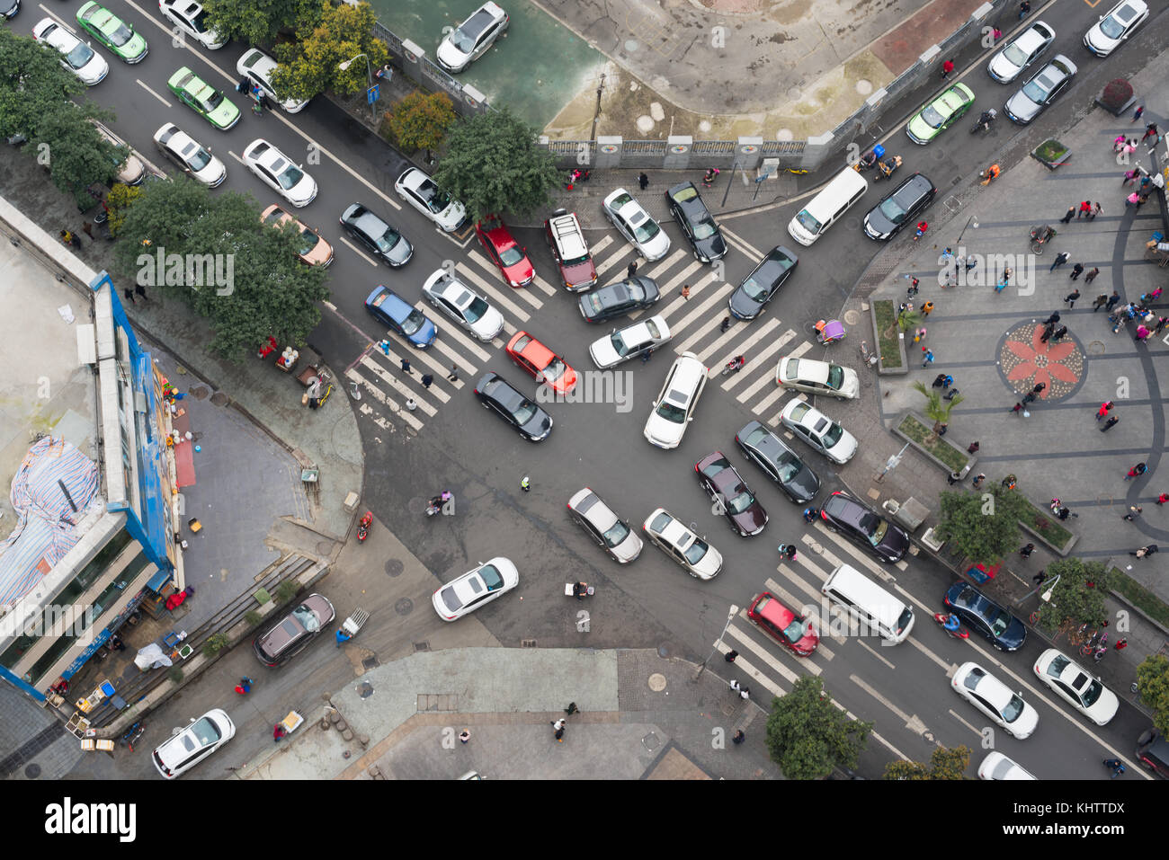 Heavy traffic in a small streets crossroads vertical view Stock Photo
