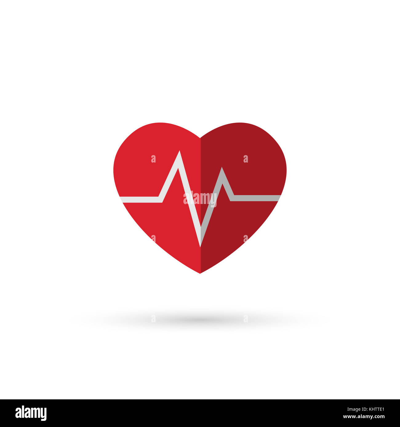 Heart and heart wave, symbol on white background Stock Photo