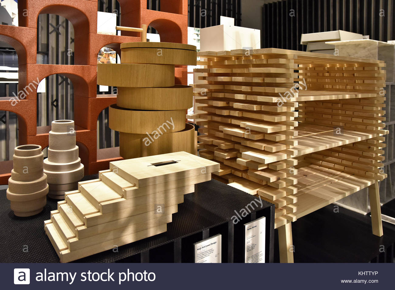 Woodwork designs Architecture As Art exhibition, Milan Triennale 2016 in Italy Europe. - Stock Image