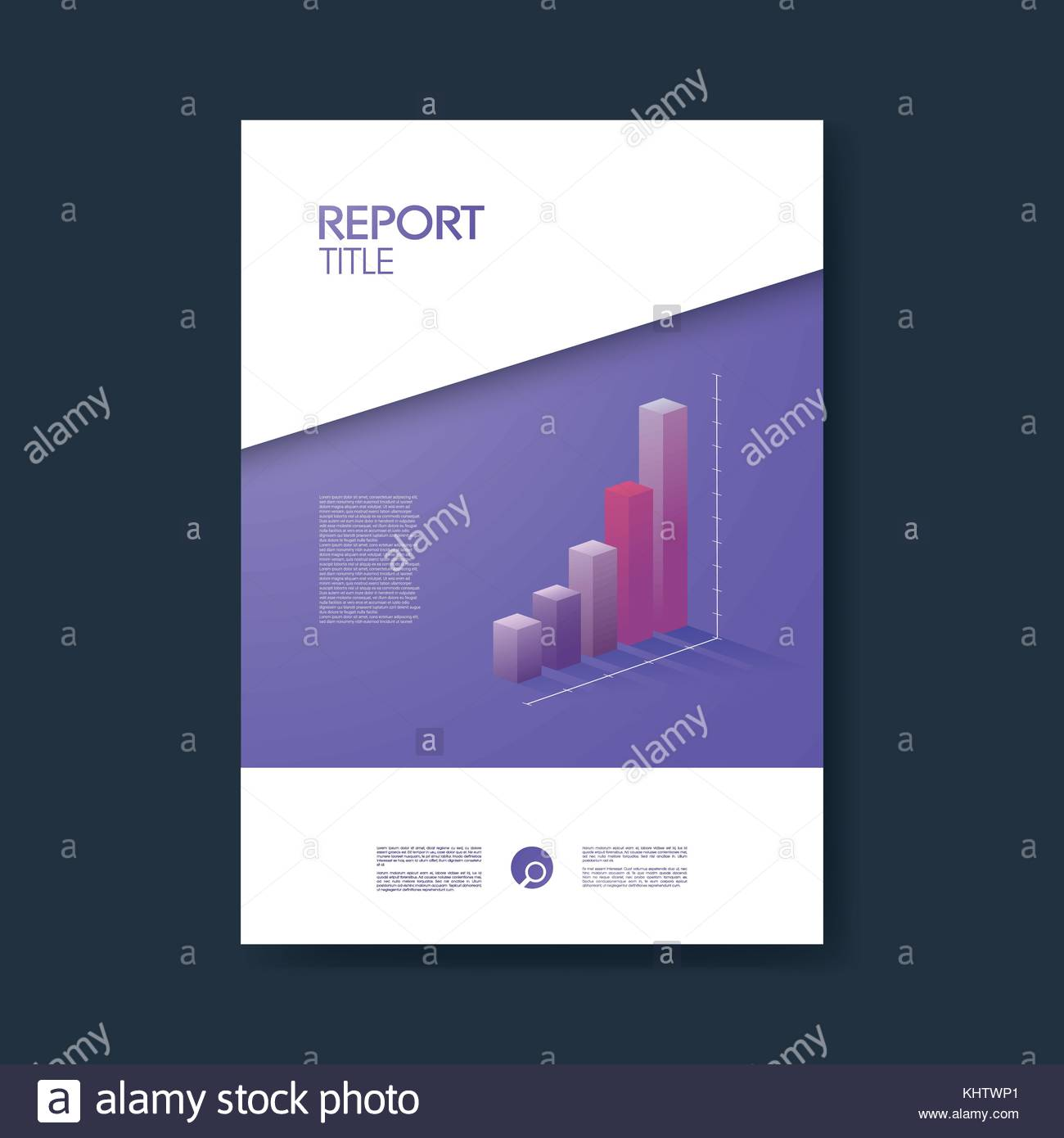 Business report cover template with graphs in modern 3d