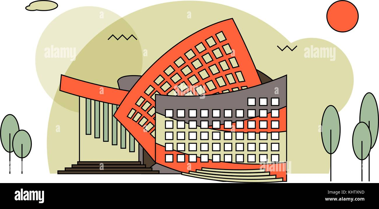 Modern concert buildings in flat style. Concert hall for music festival, rock concert etc. - Stock Vector