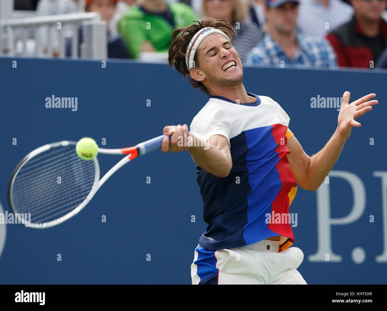 No look Austrian-tennis-player-dominic-thiem-aut-plays-forehand-shot-during-KHTXXR