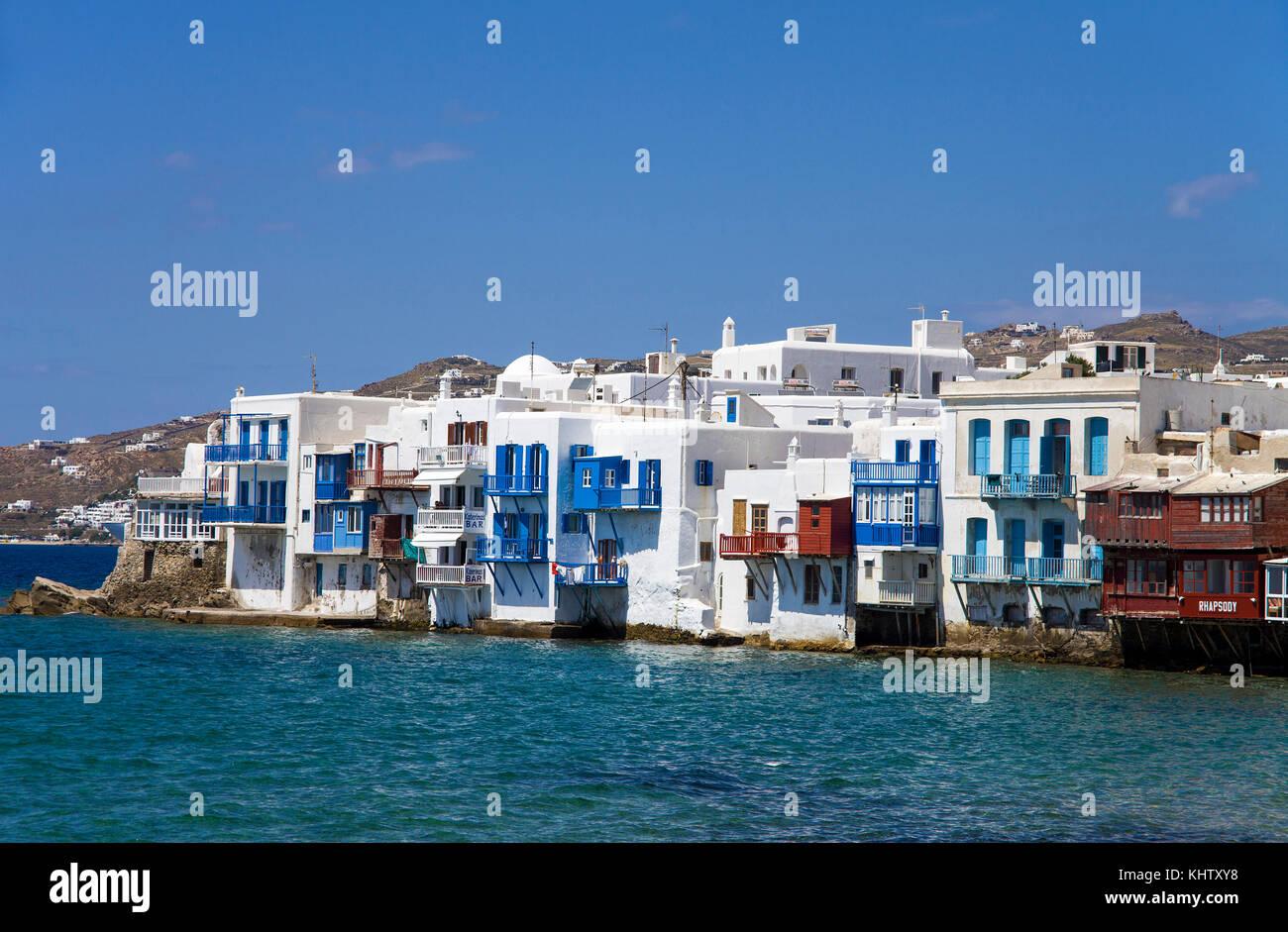 Klein Venedig in Mykonos-Stadt, Little Venice at Mykonos-town, Mykonos island, Cyclades, Aegean, Greece, - Stock Image
