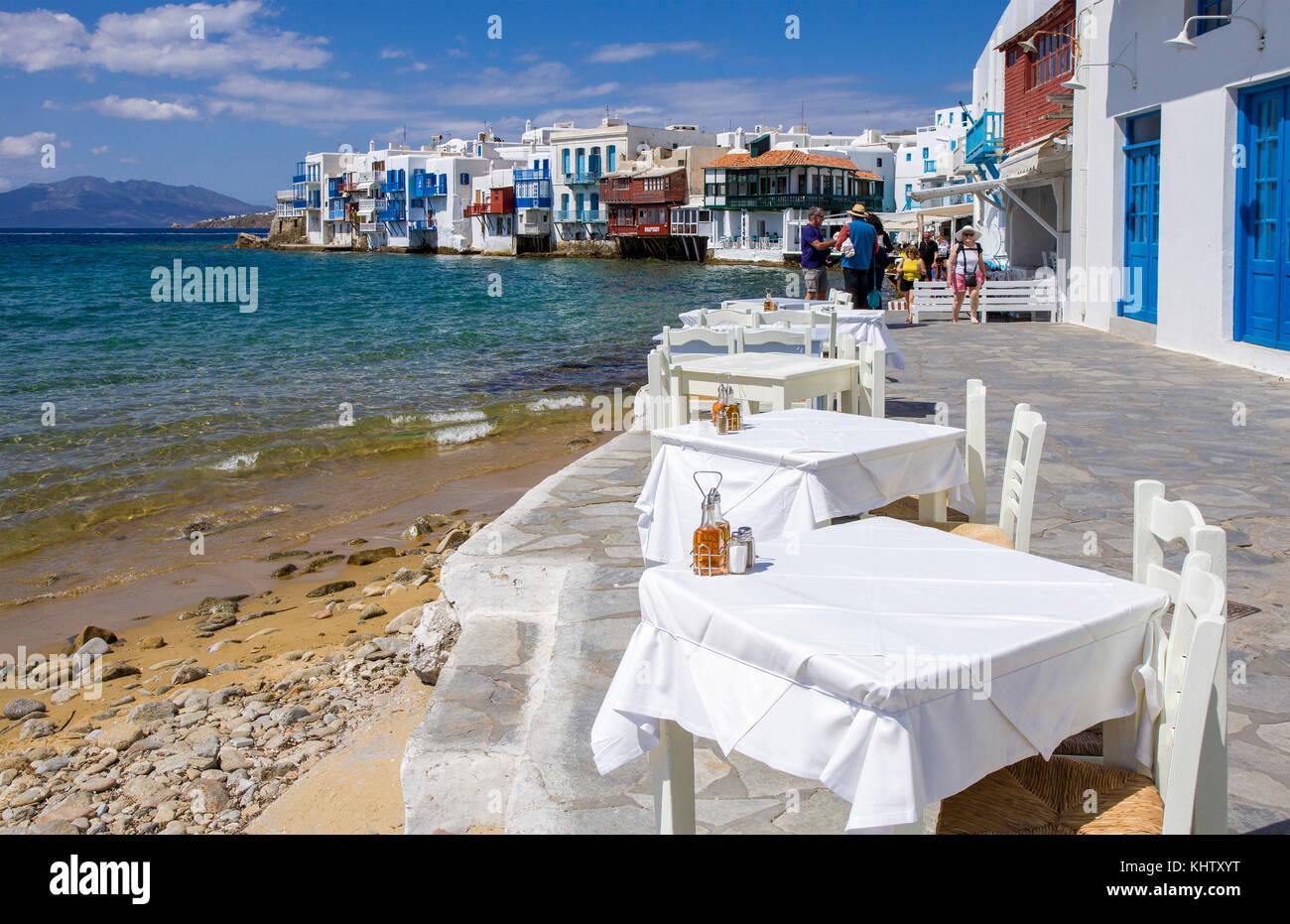 Gastronomie in Klein Venedig in Mykonos-Stadt, gastronomy at Little Venice at Mykonos-town, Mykonos island, Cyclades, - Stock Image