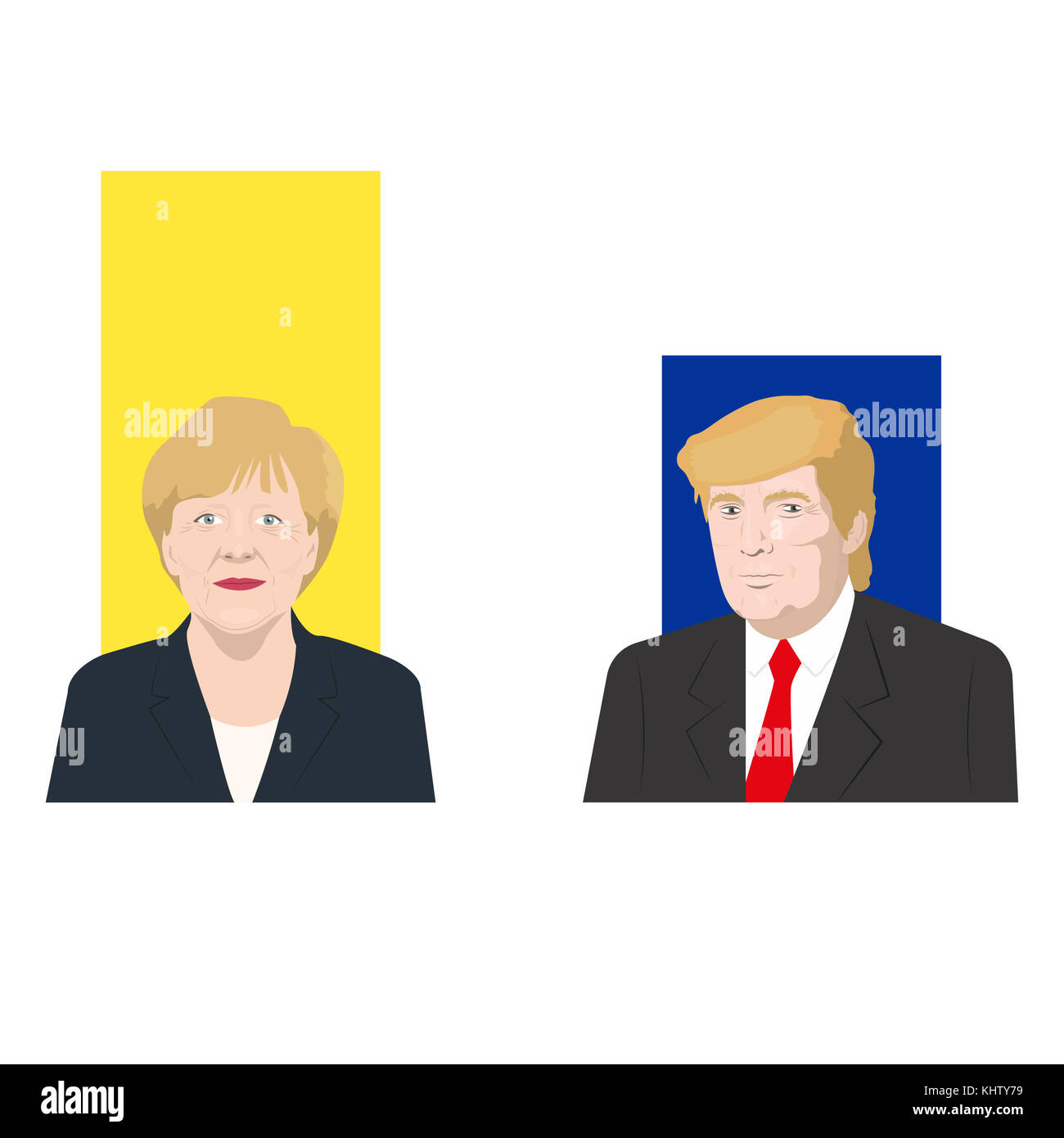 November 19.11.2017. Editorial illustration is showing a rating of popularity of well-known politicians Donald Trump - Stock Image