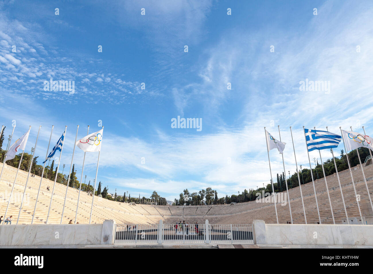 ATHENS, GREECE - NOVEMBER 4, 2017:  Entrance to the Panathenaic Stadium, with the Olympic flag and the Greek flag Stock Photo