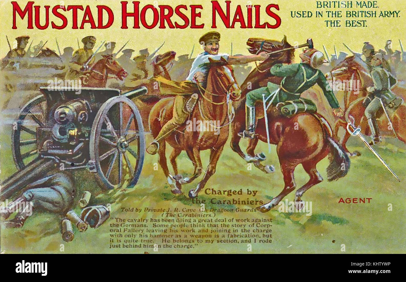 MUSTAD HORSE NAILS  A First World War advert for the Mustad horse nails - Stock Image