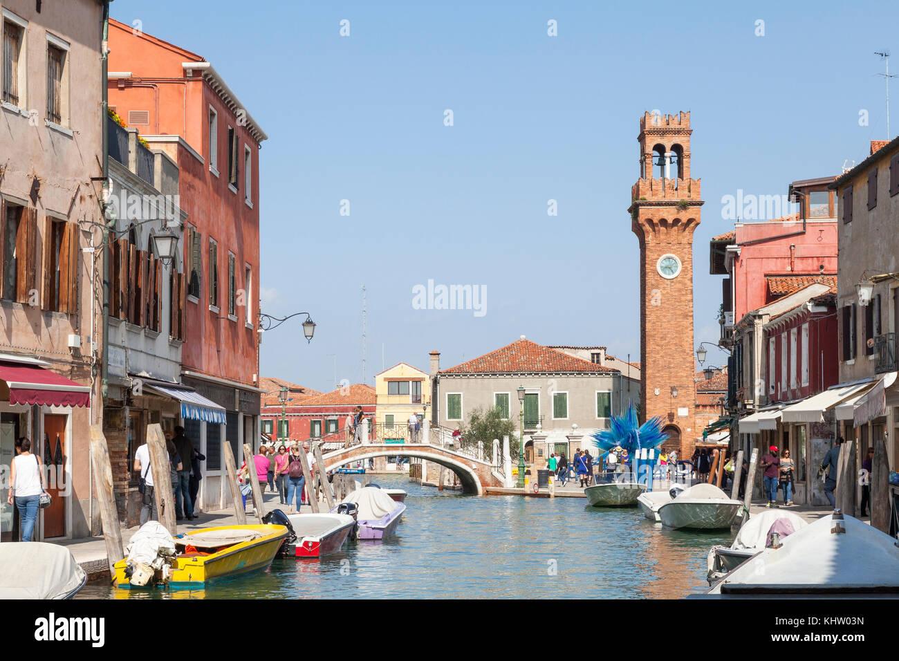 View up Rio dei Vetrai towards Campo San Stefano and the bell tower, Murano, Venice, Italy - Stock Image