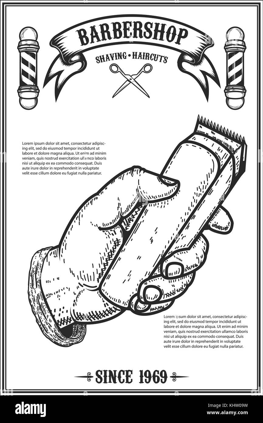 barber shop poster template human hand with hair clipper. Black Bedroom Furniture Sets. Home Design Ideas