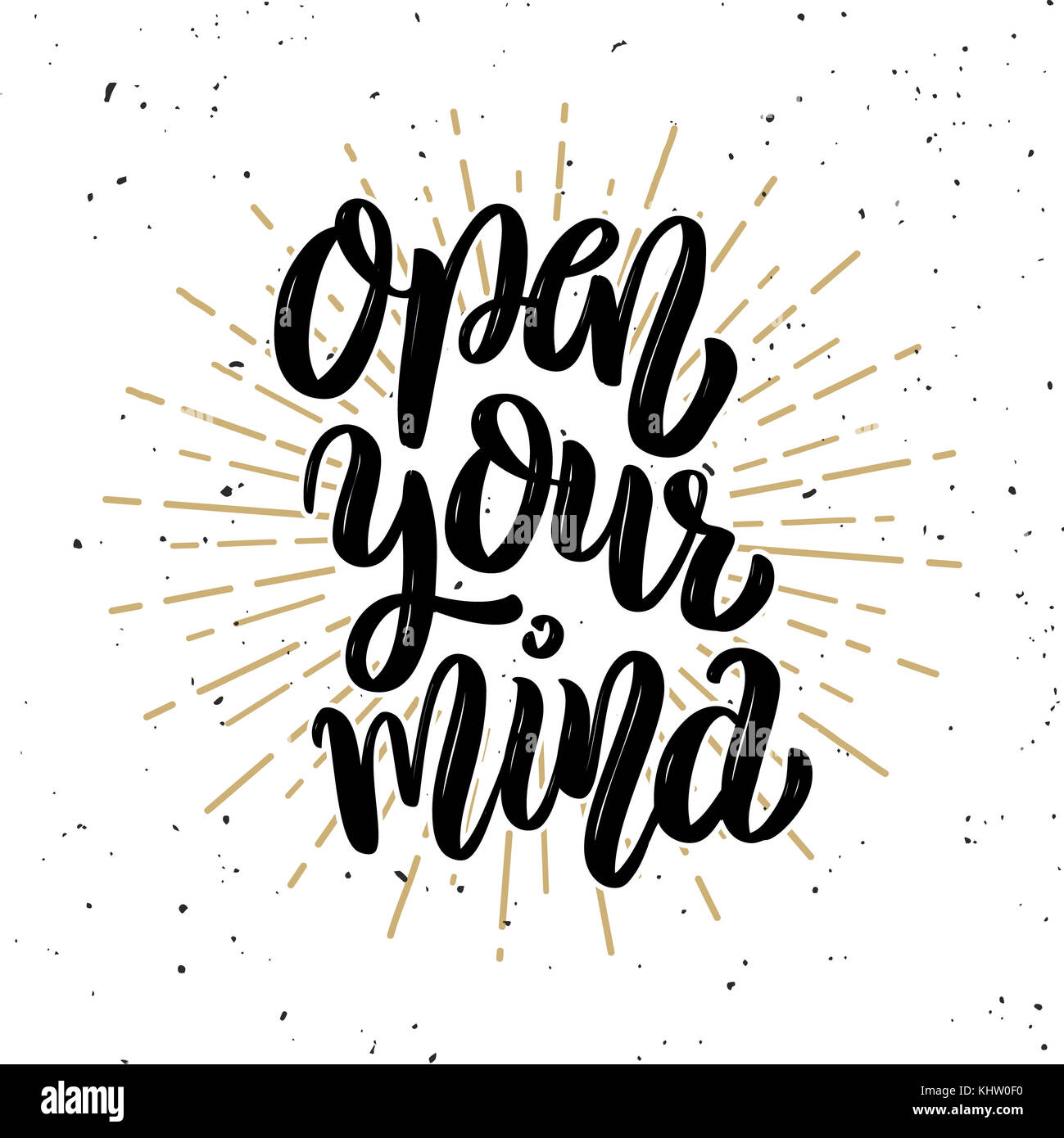 Open Your Mind Hand Drawn Motivation Lettering Quote Design