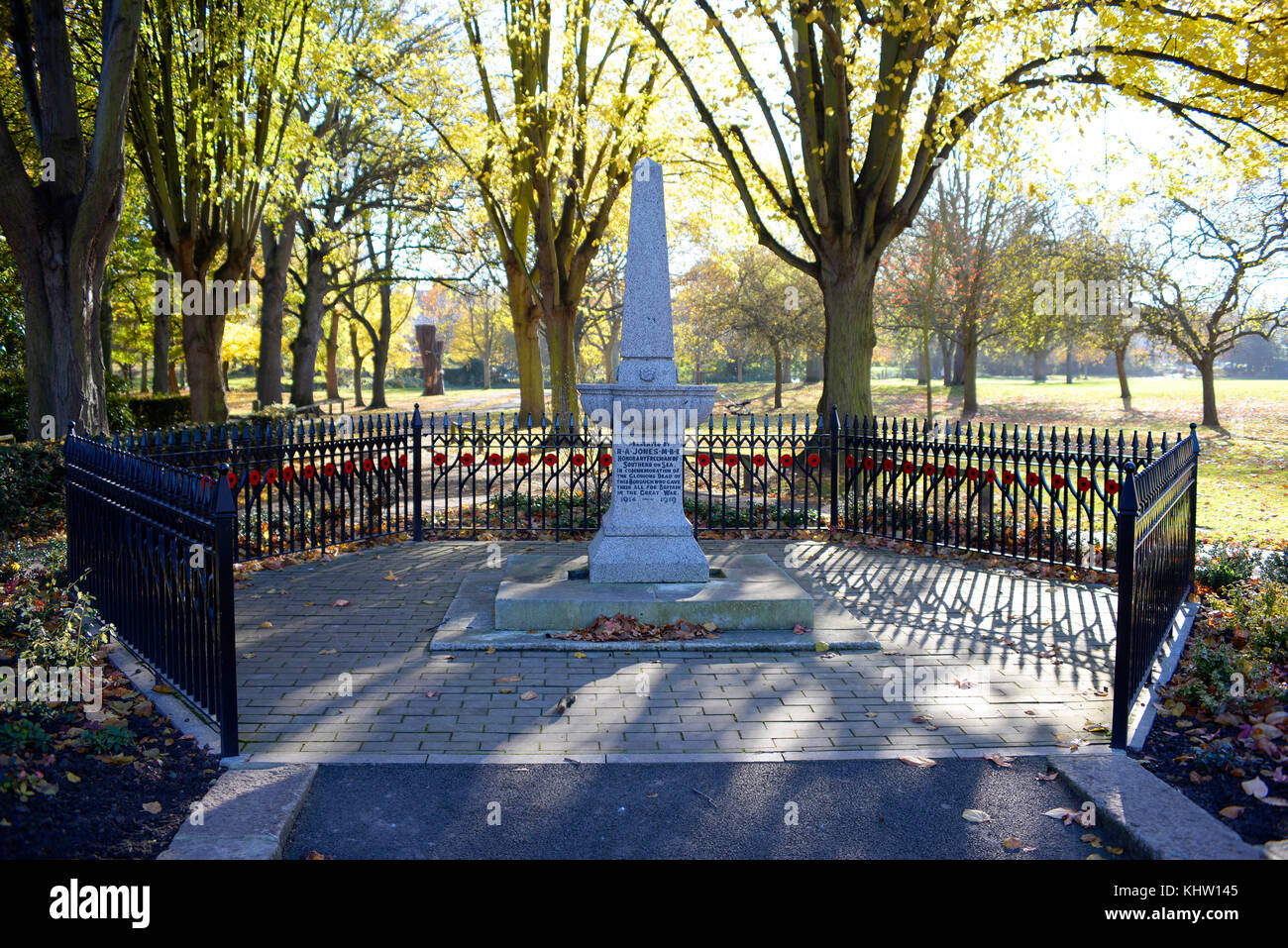 Great War memorial in Priory Park Prittlewell Southend on Sea, Essex. Presented by RA Jones. Space for copy - Stock Image